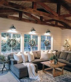 75 Majestic Rustic Farmhouse Living Room Decor Ideas – Best Home Decorating Ideas Home Living Room, Living Room Designs, Living Room Windows, Living Room Styles, Lamps For Living Room, Living Room Vaulted Ceiling, Living Room Decorations, Cool Living Room Ideas, Christmas Living Room Decor