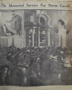 Mourners inside the Cathedral with inset a cartoon of Cavell's execution Edith Cavell, Norwich Cathedral, Brave Women, School Pictures, A Cartoon, Women In History, Famous Women, Nurses, Cross Stitch Embroidery