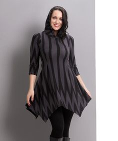 Loving this Charcoal Chevron Hooded Handkerchief Tunic - Plus Too Too on #zulily! #zulilyfinds