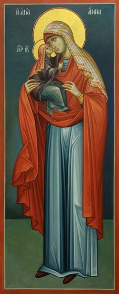Byzantine Icons, Byzantine Art, Bible Timeline, Lady Mary, St Anne, Madonna And Child, Blessed Virgin Mary, Holy Family, Orthodox Icons