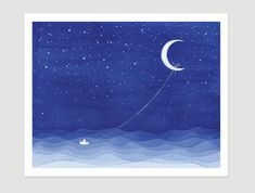 Print 20x25 cm, watercolor moon sailboat blue art