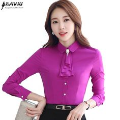 Fashion women long-sleeve slim shirt OL Brooch with tie slim chiffon blouse female clothes plus size office formal tops Formal Blouses, Formal Tops, Simple Formal Dresses, Bow Tie Blouse, Chiffon Blouses, Couture Tops, Business Casual Outfits, African Fashion, Fashion Women