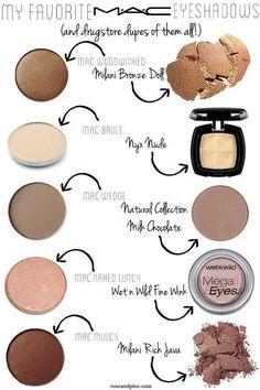 mac-cosmetics-eyeshadows-and-drugstore-dupes-of-them-all - top_make_up_pintennium Mac Eyeshadow Dupes, Drugstore Makeup Dupes, Beauty Dupes, Mac Dupes, Makeup Eyeshadow, Makeup Brushes, Lipstick Dupes, Mac Bronzer, Beauty Hacks