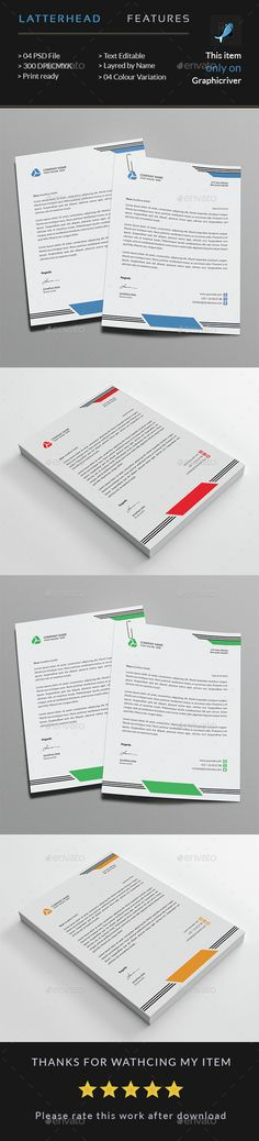 #Corporate Business #Letterhead - Stationery Print #Templates Download here: https://graphicriver.net/item/corporate-business-letterhead/14709852?ref=alena994