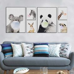 Nordic Kawaii Animal Bubbles Koala Giraffe Dog Canvas Art Print Poster Nursery Wall Picture Kids Room Decor Painting No Frame A4 Poster, Poster Prints, Posters, Cool Wall Decor, Wall Art Prints, Canvas Prints, Multi Picture, Cheap Paintings, Wall Art Pictures