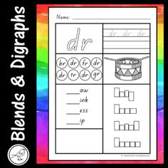 Worksheets for common blends and digraphs. Activities: ♦ write your name. ♦ colour the blend. ♦ trace and write the blend. ♦ find the blend 4 times and colour the circle. ♦ colour the picture. ♦ write the blend to make 4 words. Teacher Resources, Classroom Resources, Blends And Digraphs, Alphabet Cards, Activity Sheets, Teaching Materials, Best Teacher, How To Plan, How To Make