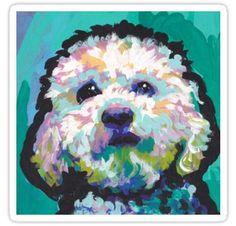 maltipoo maltese poodle portrait art print of pop dog painting bright colors LEA