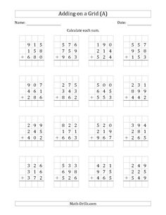 The Adding Three 3-Digit Numbers on a Grid (A) math worksheet from the Addition Worksheet page at Math-Drills.com.