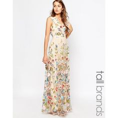 True Decadence Tall Allover Embroidered Floral Maxi Dress ($148) ❤ liked on Polyvore featuring dresses, multi, floral print dress, plunge-neck dresses, plunge neck maxi dress, embroidered dress and white embroidered dress