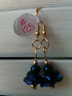 Dark Blue Stone Chip Earrings with Round Blue Beads by GodsGlitter, $8.00