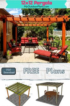 This square pergola comes with 3D step by step diagrams and a lot of instructions, so you can get the job done by yourself. Full Cut and Shopping lists included. PDF download and Print friendly. #pergola #pergolaplans #woodpergola Rustic Modern, Modern Farmhouse, Free Pergola Plans, Outdoor Tables, Outdoor Decor, Building A Pergola, Wood Pergola, Wooden Playhouse, Diy Shed