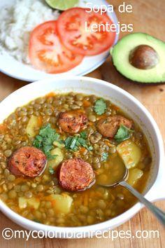Receta Sopa de lentejas colombiana en español                              …