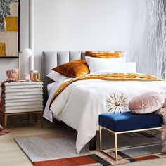 When you think of Feng Shui, romance may not be the first thing that comes to mind. Feng Shui principles are all about enhancing our living spaces — including the bedroom. The elements of Feng Shui… West Elm, Design Furniture, Modern Furniture, Jewel Tone Bedroom, Simple Bed Frame, Feng Shui Bedroom, Bedding Shop, Luxury Bedding, Decoration