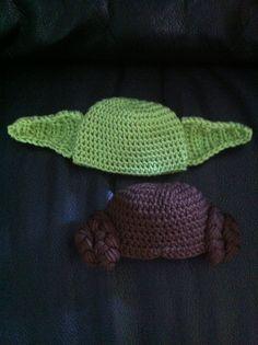 Twins boy and girl crochet yoda and Princess Leia hats