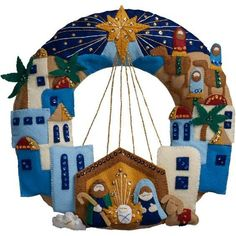 Bucilla® Town of Bethlehem Wreath Felt & Sequin KitCreate this gorgeous nativity scene wreath with the Town of Bethlehem Wreath kit by Bucilla.Bucilla 86734 Felt Applique Wreath Town of Bethlehem Size X for sale online Festive designs, quality mater Christmas Stocking Kits, Christmas Sewing, Christmas Projects, Christmas Wreaths, Christmas Crafts, Christmas Applique, Felt Projects, Xmas, Felt Stocking