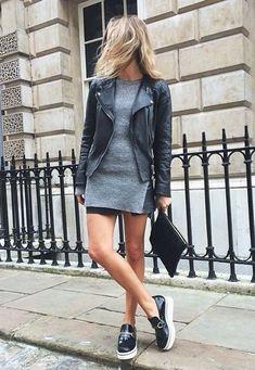 black leather + shirt dress