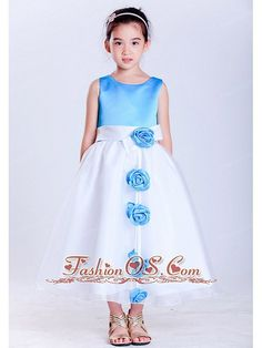 Customize White and Baby Blue A-line Scoop Hand Made Flowers Flower Girl Dress Tea-length Taffeta and Organza Item Code: HLEN0814T034FOS