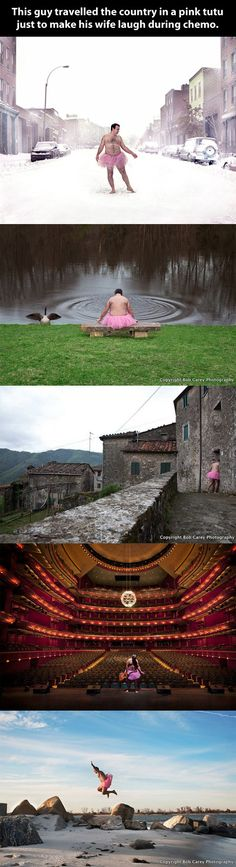 He photographs himself wearing a pink tutu to cheer up his wife up while she's getting treatment for her cancer.