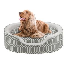 Miley Fretwork Oval Cuddler with Cushion by Soft Touch- Grey