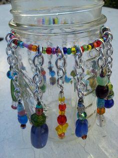 Carnelian Sol Designs - beaded canning jar candleholder - งานฝีมือในการขายบล็อก Bead Bottle, Diy Bottle, Bottle Art, Bottle Crafts, Mason Jar Candles, Mason Jar Crafts, Mason Jar Diy, Canning Jars, Glass Bead Crafts