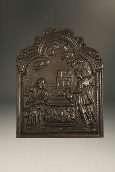 17th century French fireback depicting Jesus at a well, circa 1650. #antique #fireback