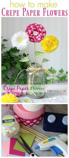 How to Make Crepe Paper Flowers | DIY paper flower tutorial | Easy Craft Idea | Kids Craft | Find it on TodaysCreativeLife.com