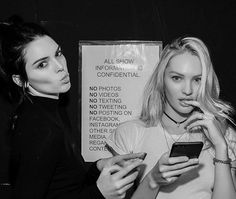 silverlininglookbook:  senyahearts:  Kendall Jenner and Candice Swanepoel by Russell James, VSFS Rehearsal (11/9/2015)  B&W fashion blog