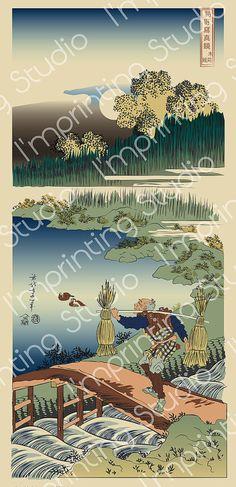 Hokusai The Reed gatherer, japan print vectorial version