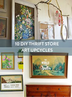 Round Up: 10 Amazing DIY Upcycled Thrift Store Art thriftstorefinds Roundup- Th.Round Up: 10 Amazing DIY Upcycled Thrift Store Art thriftstorefinds Roundup- Thrift Store Art Diy Crafts Vintage Thrift Stores Vintage DIY Store thriftstorefinds Thrift Store Diy Clothes, Thrift Store Art, Thrift Store Fashion, Thrift Store Shopping, Thrift Store Furniture, Thrift Stores, Diy Furniture, Online Thrift, Thrift Store Decorating