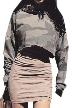 Camouflage Pattern Hoodie Crop Sweatshirt with Long Sleeves