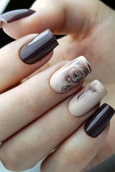 The Best Wedding Nails 2020 Trends ★ wedding nails trends nudes dark with soft roses flower olgastognieva Sophisticated Nails, Stylish Nails, Trendy Nails, Cute Nails, Bridal Nails Designs, Broken Nails, Classy Nail Designs, Nail Effects, Nagellack Trends