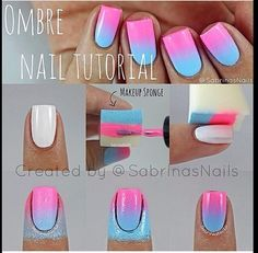 how to do ombre nail art at home step by step - Google Search