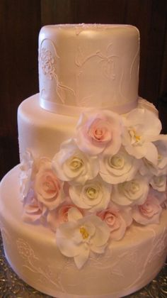 beautiful sugarpaste roses and orchids