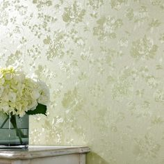 Floral Silk Green Shimmer Wallpaper by Graham and Brown