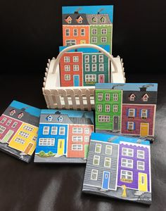 Coasters in a picket fence with a Down Eastern theme of Jellybean Houses by WestBasinLakeArt on Etsy