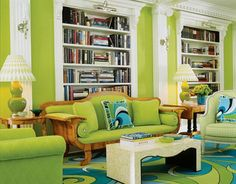 Home Tour Beth Arrowoods Miami Brights Turquoise Living Rooms - Colors that match green