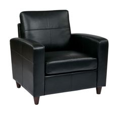 Lounge Seating Black Espresso Bonded Leather Club Chair