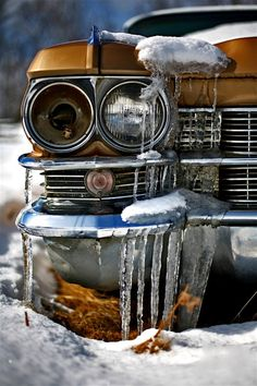 my misty morning.. A Cadillac crying out for justice.... in the cold still of winter.....