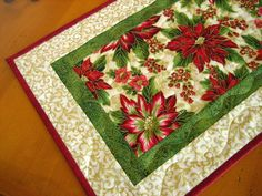 Gorgeous Poinsettia Quilted Table Runner via Etsy