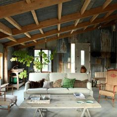 Corrugated shed - too much metal but the room has a nice feeling