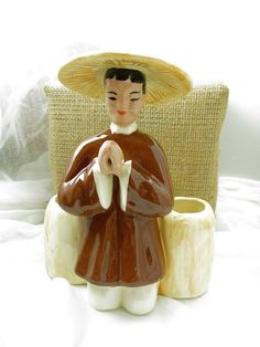 Your place to buy and sell all things handmade Chinese Figurines, Grandmothers Love, Ceramic Figures, Glazed Ceramic, Faux Flowers, Bud Vases, Vintage Ceramic, Turning, Oriental