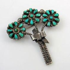 Vintage Zuni Turquoise Pin - Bouquet of Flowers