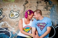 colorful graffiti engagement session by Atlanta's Jules Photography for comic book fans Engagement Shoots, Wedding Engagement, Superman Wedding, Comic Book Wedding, Let's Get Married, The Right Man, Alternative Wedding, Wedding Blog, Graffiti