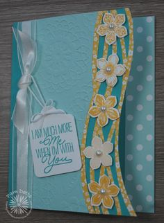 SU! Petite Petals and Layering Love (sentiment) stamp sets; Swirly Scribbles Thinlits, Tags & Labels Framelits; Schoolhouse DSP (Pool Party dots), Regals DSP stack (Crushed Curry floral); colors are Bermuda Bay, Pool Party and Crushed Curry - Pam Dotts