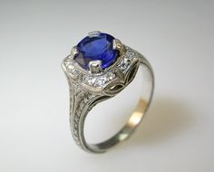 14 K White Gold Hand Engraved Diamond Engagement Ring. Wedding. Bridal. on Etsy, $899.00