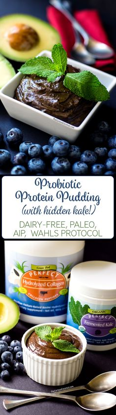 Probiotic Mint Chocolate Blueberry Avocado Pudding with hidden kale // (Paleo, AIP option, Gluten-free, Egg-free, Dairy-Free)// TheCuriousCoconut.com