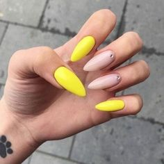 Yellow Toe Nails, Yellow Nails Design, Yellow Nail Art, Neon Yellow, Yellow Fever, Nude Nails, Gold Nails, Stiletto Nails, My Nails