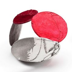 """Bracelet   Myung Urso. """"Forte I,"""" Silk, Cotton, Asian Ink, Asian Stamping Ink, Thread, Sterling Silver and Lacquer"""