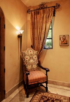 Tuscan chair and window. Like the upholstery fabric on the back....  Mediterranean ...