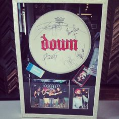 Down band custom framed drum cover by FastFrame of LoDo. Shadow Frame, Shadow Box, Drum Music, Music Wall, Concert Ticket Display, Down Band, Music Down, Frame Drum, Detroit Art